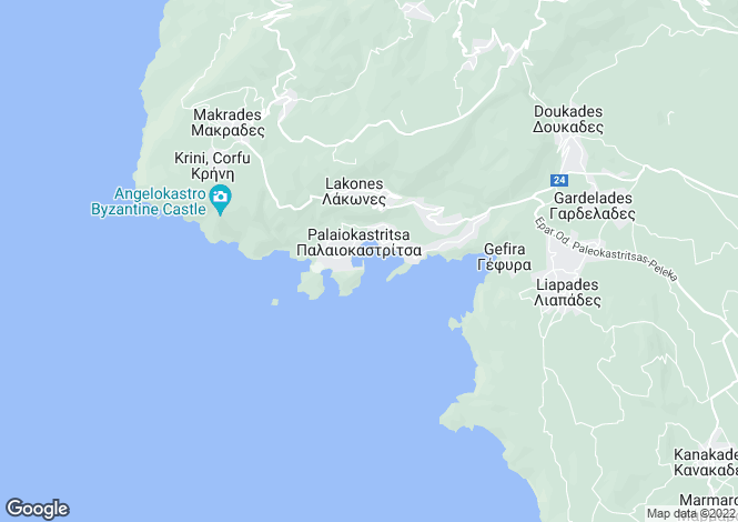 Map for Palaiokastritsa, Corfu, Ionian Islands