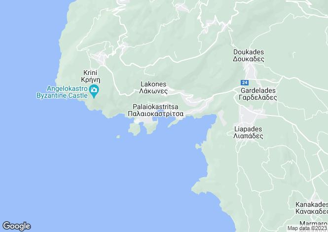 Map for Palaiokastritsa, Corfu, Ionian Islands