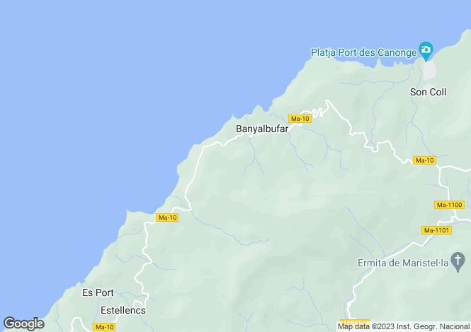 Map for Balearic Islands, Mallorca, Banyalbufar