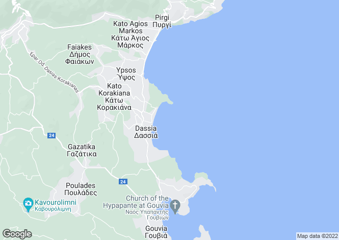 Map for Ionian Islands, Corfu, Ypsos