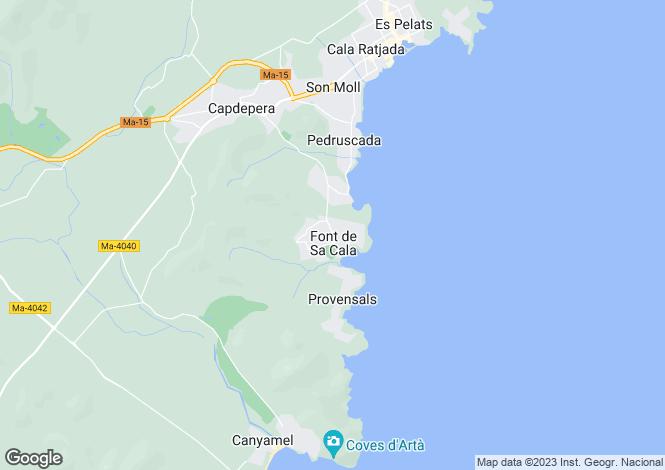 Map for Balearic Islands, Mallorca, Capdepera