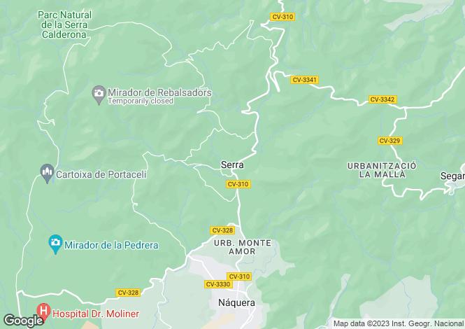Map for Valencia, Valencia, Serra