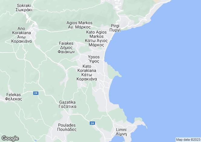 Map for Ionian Islands, Corfu, Ipsos
