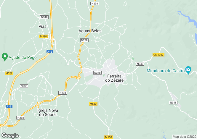 Map for Alvaiázere, Estremadura