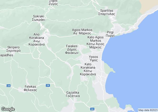 Map for Ionian Islands, Corfu, Kato Korakiana