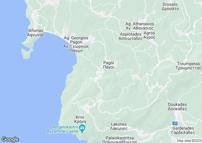 Map for Ionian Islands, Corfu, Prinilas