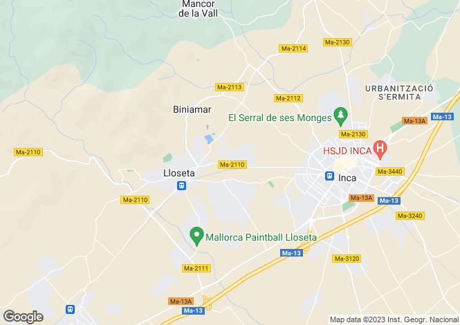 Map for Balearic Islands, Mallorca, Lloseta