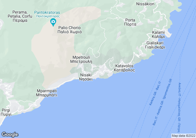 Map for Ionian Islands, Corfu, Nissaki