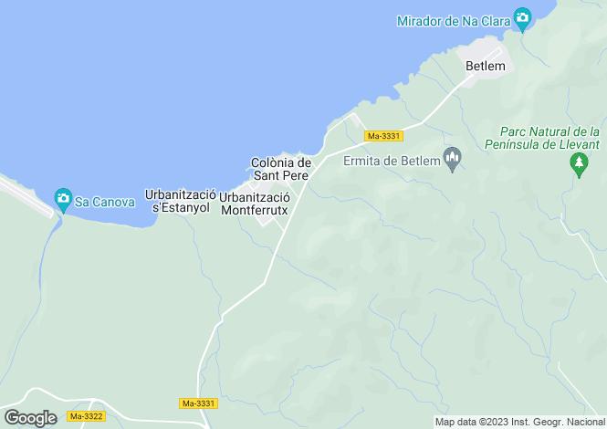 Map for Colònia de Sant Pere, Mallorca, Balearic Islands