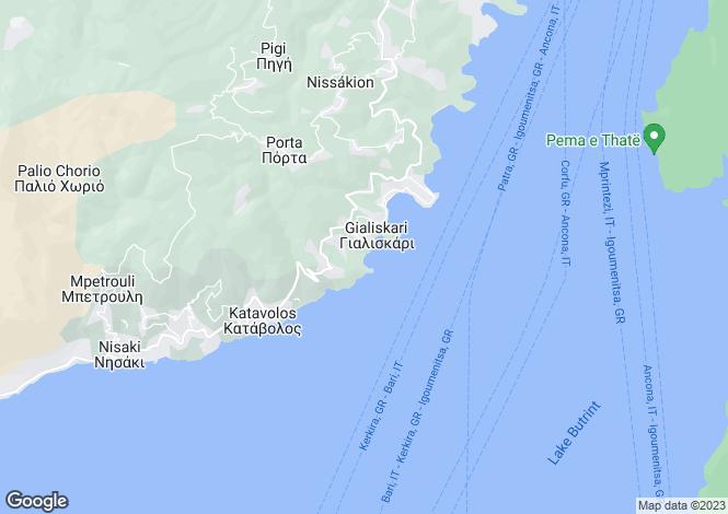 Map for Ionian Islands, Corfu, Kentroma