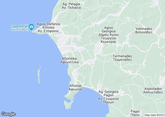 Map for Ionian Islands, Corfu, Afionas