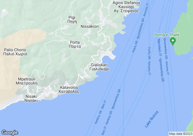 Map for Ionian Islands, Corfu, Kassiopi