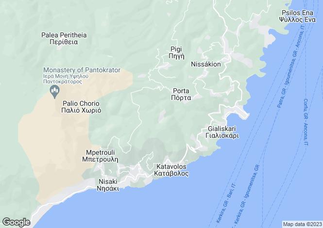 Map for Ionian Islands, Corfu, Rou