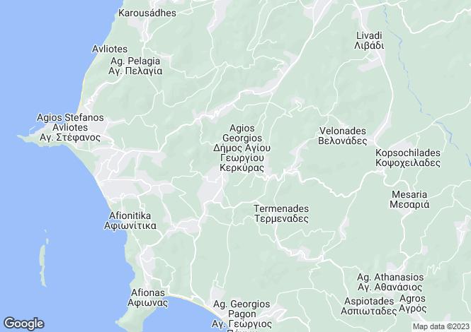 Map for Ionian Islands, Corfu, Kavvaddes