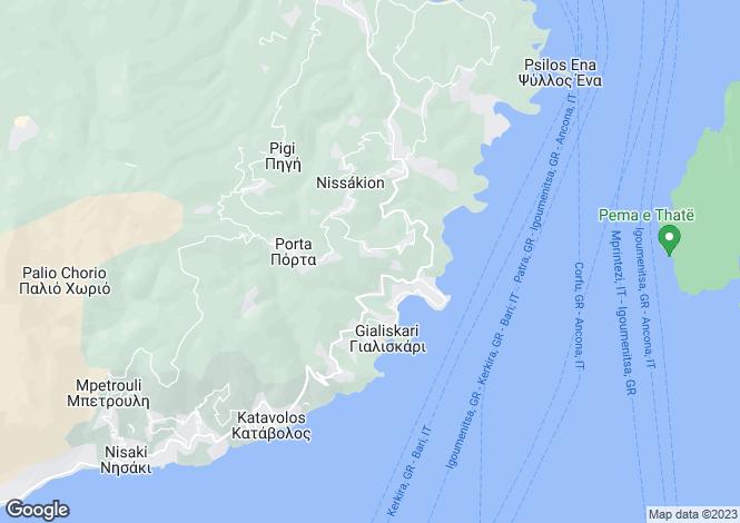 Map for Ionian Islands, Corfu, Kalami