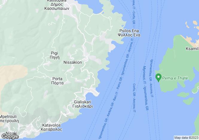 Map for Ionian Islands, Corfu, Kerasia