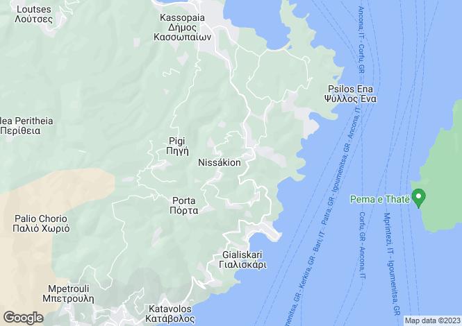 Map for Ionian Islands, Corfu, Sinies