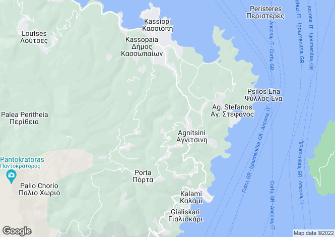Map for Kassiopi, Corfu, Ionian Islands