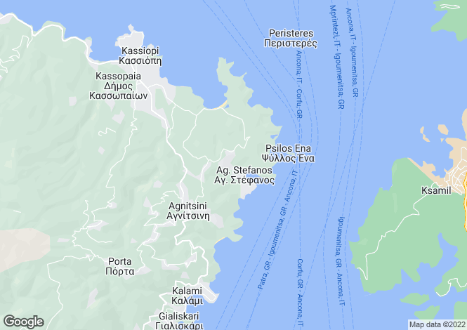Map for Ionian Islands, Corfu, Agios Stefanos (north East)
