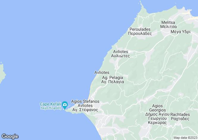 Map for Ionian Islands, Corfu, San Stephanos