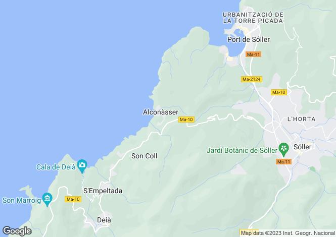 Map for Sóller, Mallorca, Balearic Islands