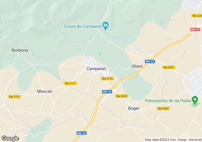 Map for Balearic Islands, Mallorca, Campanet