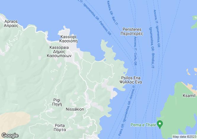 Map for Ionian Islands, Corfu, Avlaki