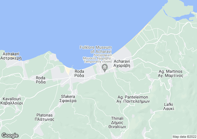 Map for Ionian Islands, Corfu, Acharavi