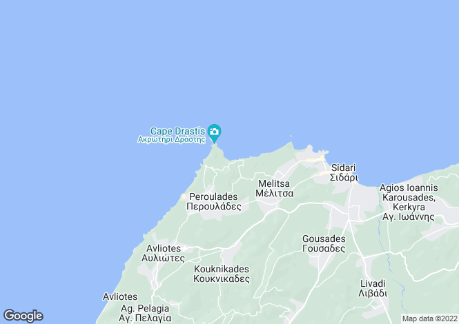 Map for Ionian Islands, Corfu, Peroulades