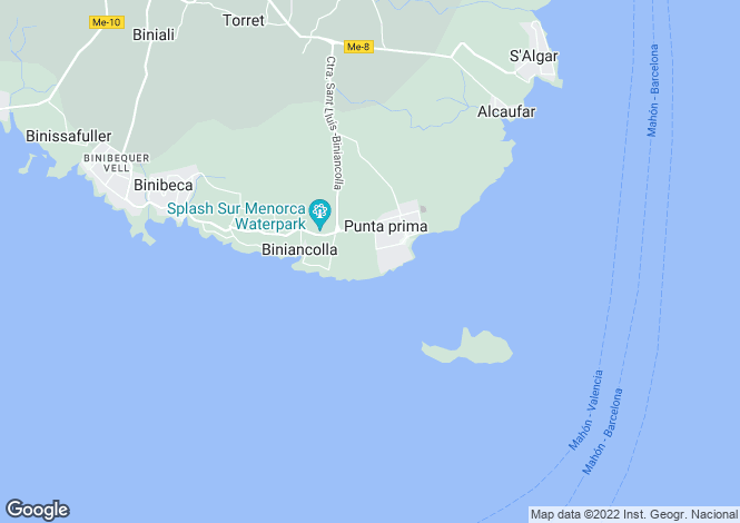Map for Balearic Islands, Menorca, Sant Lluis