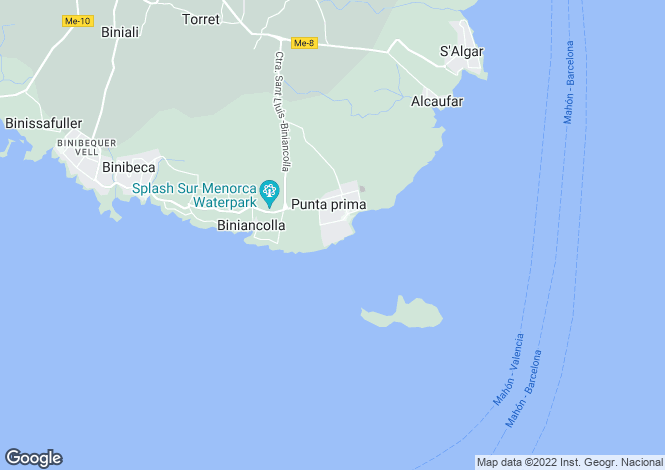 Map for Balearic Islands, Menorca, San Luis