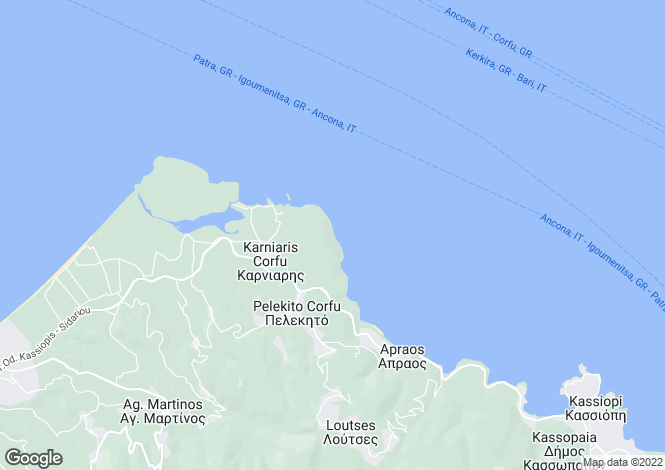 Map for Ionian Islands, Corfu, Apraos