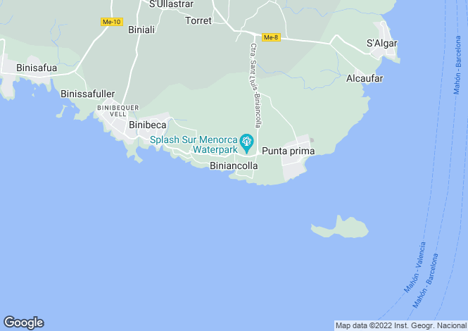 Map for Menorca, Biniancolla, Biniancolla
