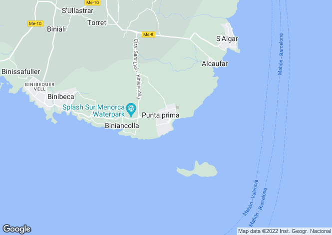 Map for Punta Prima, Menorca, Balearic Islands