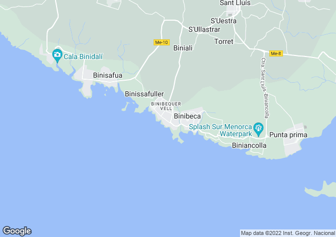 Map for Binibeca, Menorca, Balearic Islands