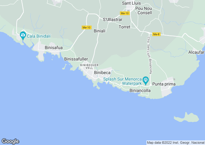 Map for Binibeca, Menorca, Spain