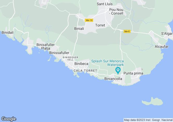 Map for Binibeca, Menorca, Balearic Islands