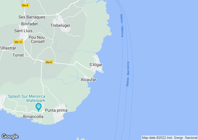 Map for Balearic Islands, Menorca, S'algar