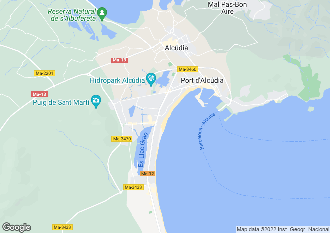 Map for Alcudia, Balearic Islands, 07400, Spain