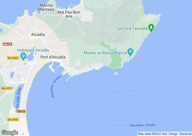 Map for Balearic Islands, Mallorca, Alcanada
