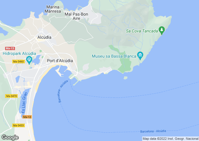 Map for Alcudia, Balearic Islands, 07410, Spain
