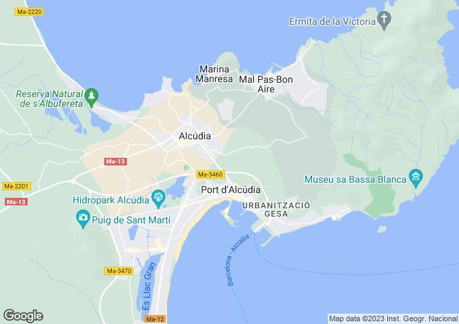 Map for Balearic Islands, Mallorca, Alcanada
