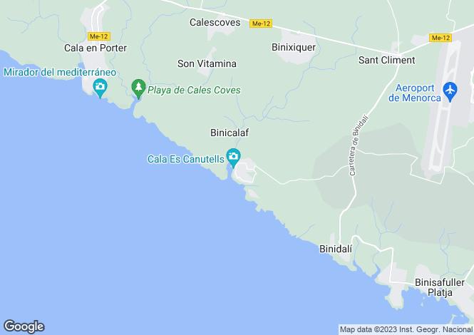 Map for Es Canutells, Menorca, Balearic Islands
