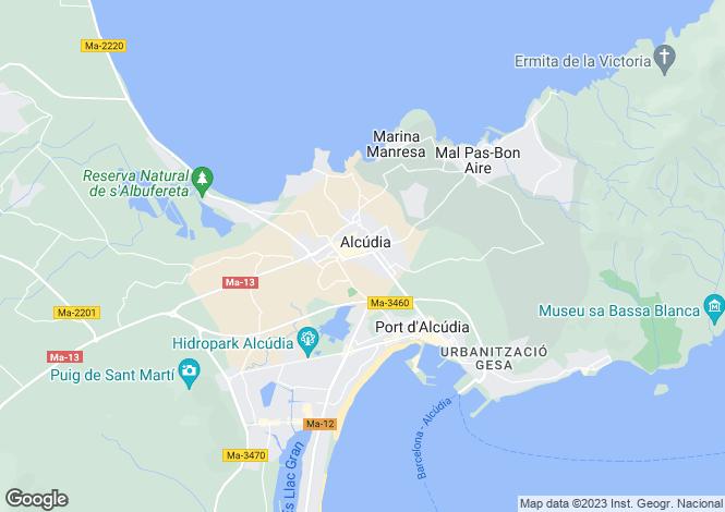 Map for Alcúdia, Mallorca, Balearic Islands