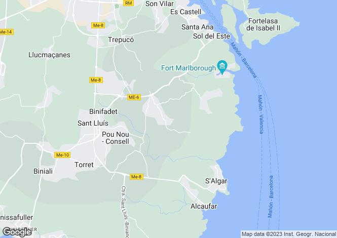 Map for Trebeluger, Menorca, Balearic Islands