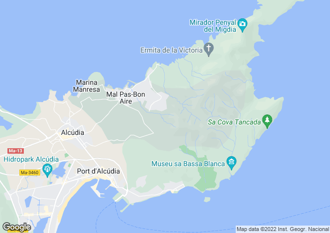Map for Alcúdia, Mallorca, Balearic Islands