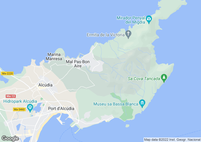 Map for Spain - Balearic Islands, Mallorca