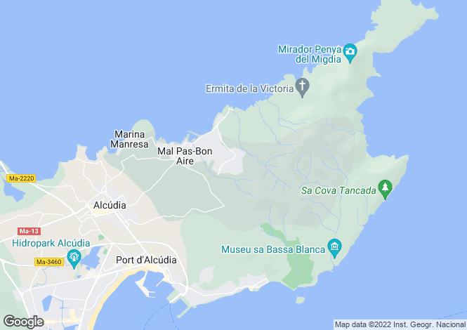 Map for Spain - Balearic Islands, Mallorca, Alcudia