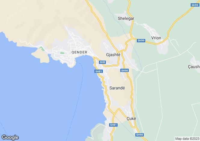Map for Vlorë, Sarandë