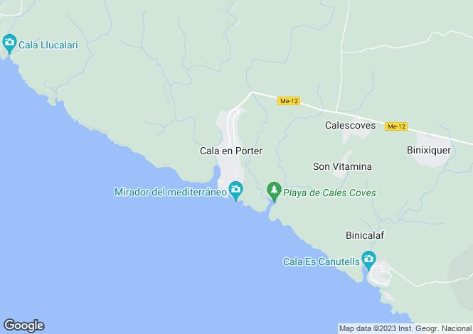 Map for Balearic Islands, Menorca, Cala en Porter